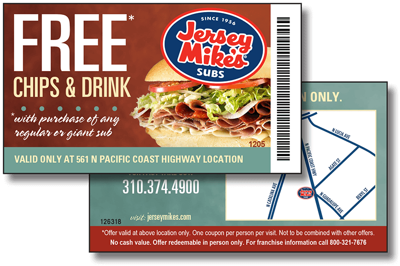 Jersey Mikes Free Chips and Drink Marketing Card - Affordable Marketing